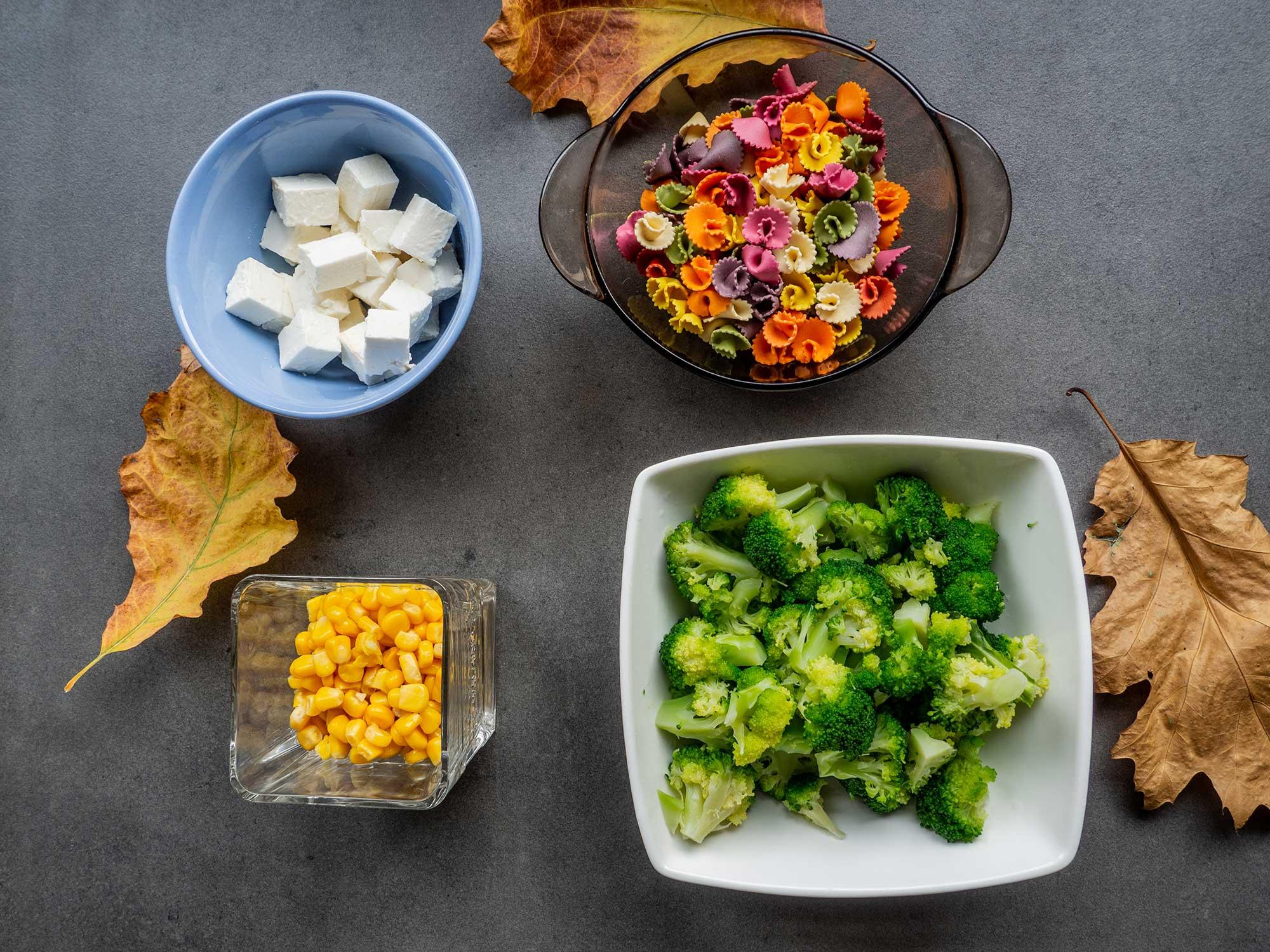 Feta Cheese, broccoli, pasta, corn