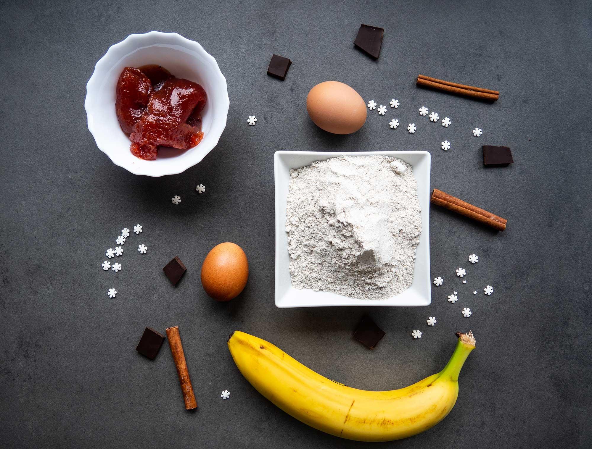 chocolate, flour, banana, egs