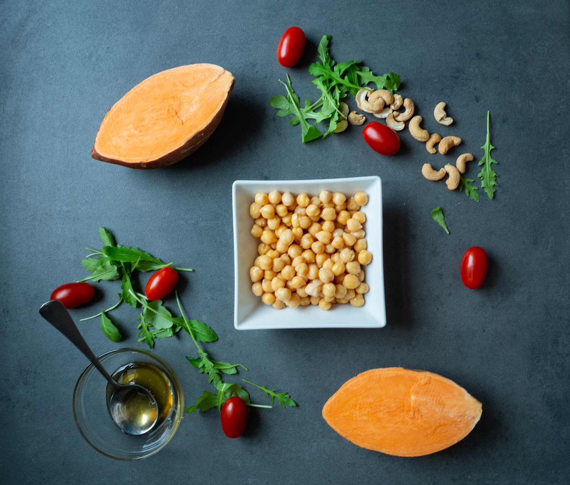 Salad with sweet potatoes, tomatoes