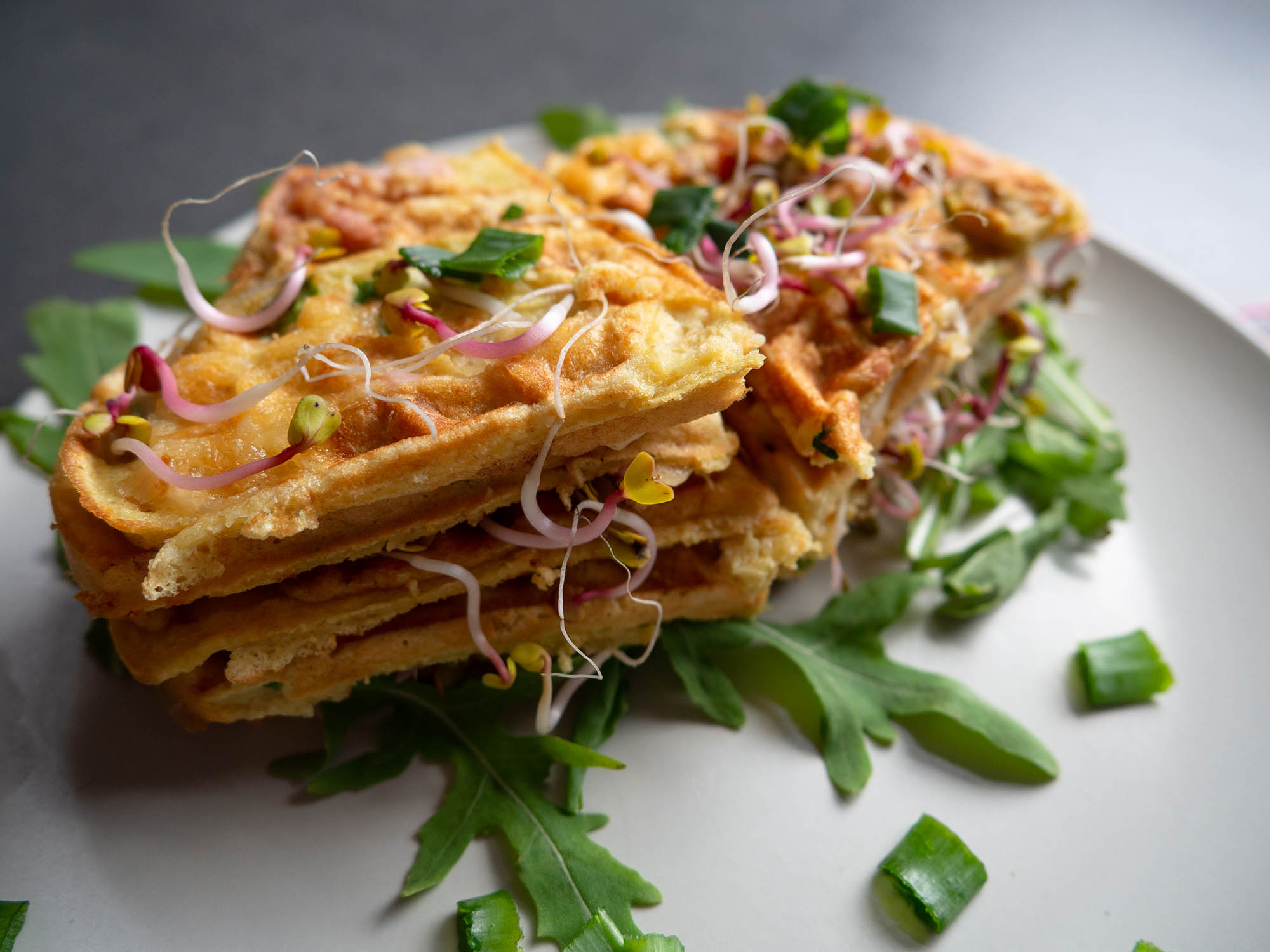Waffles with Cheese and Ham