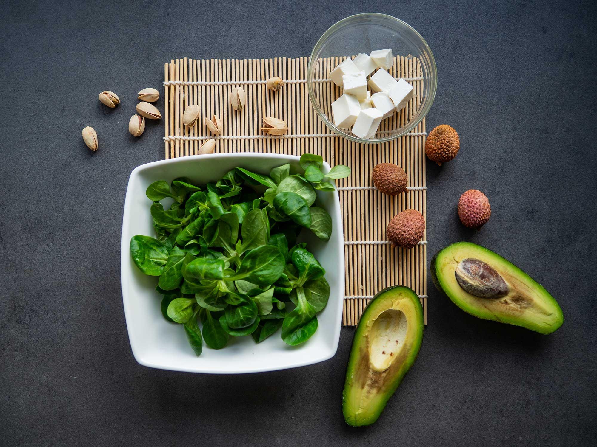 avocado, lamb's lettuce, feta cheese