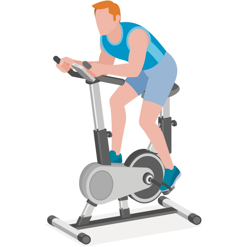 Man riding stationary bike