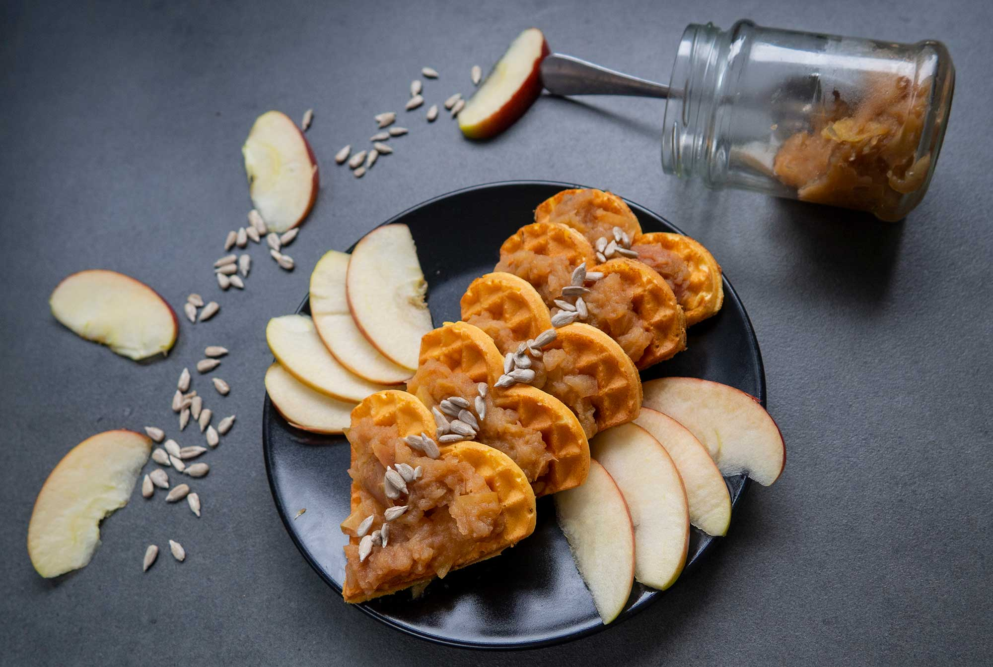 Waffles Recipe for Two with Apple Jam