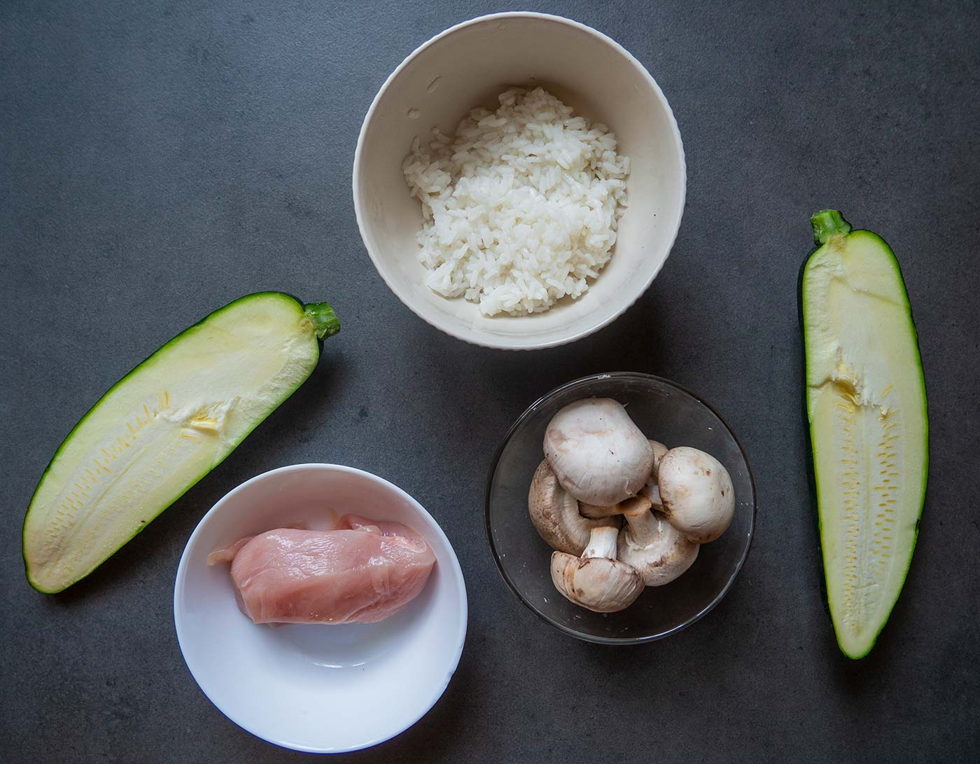 Ingredients for Stuffed zucchini