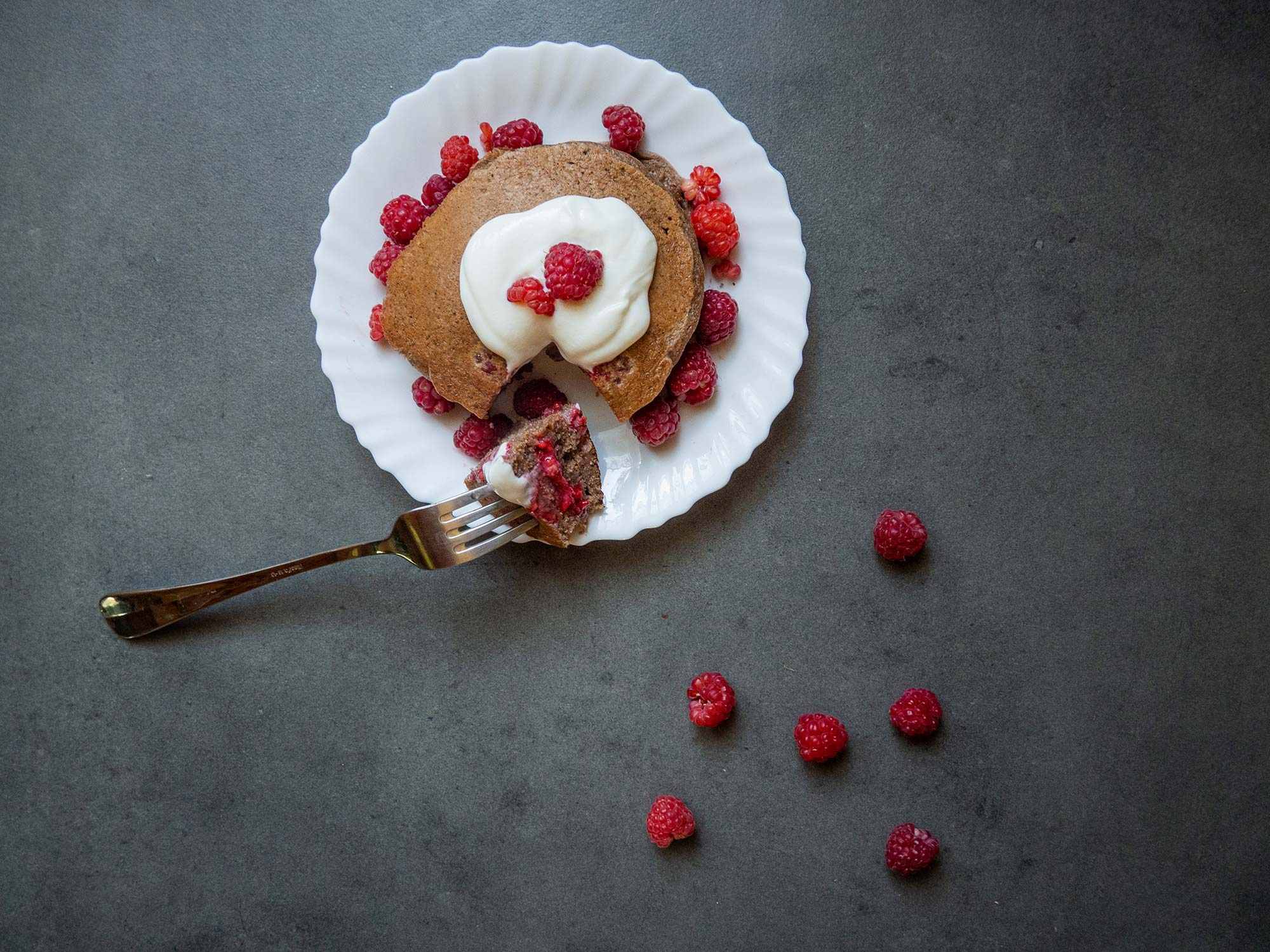 Lunch #7 – Chocolate Pancakes with Raspberries