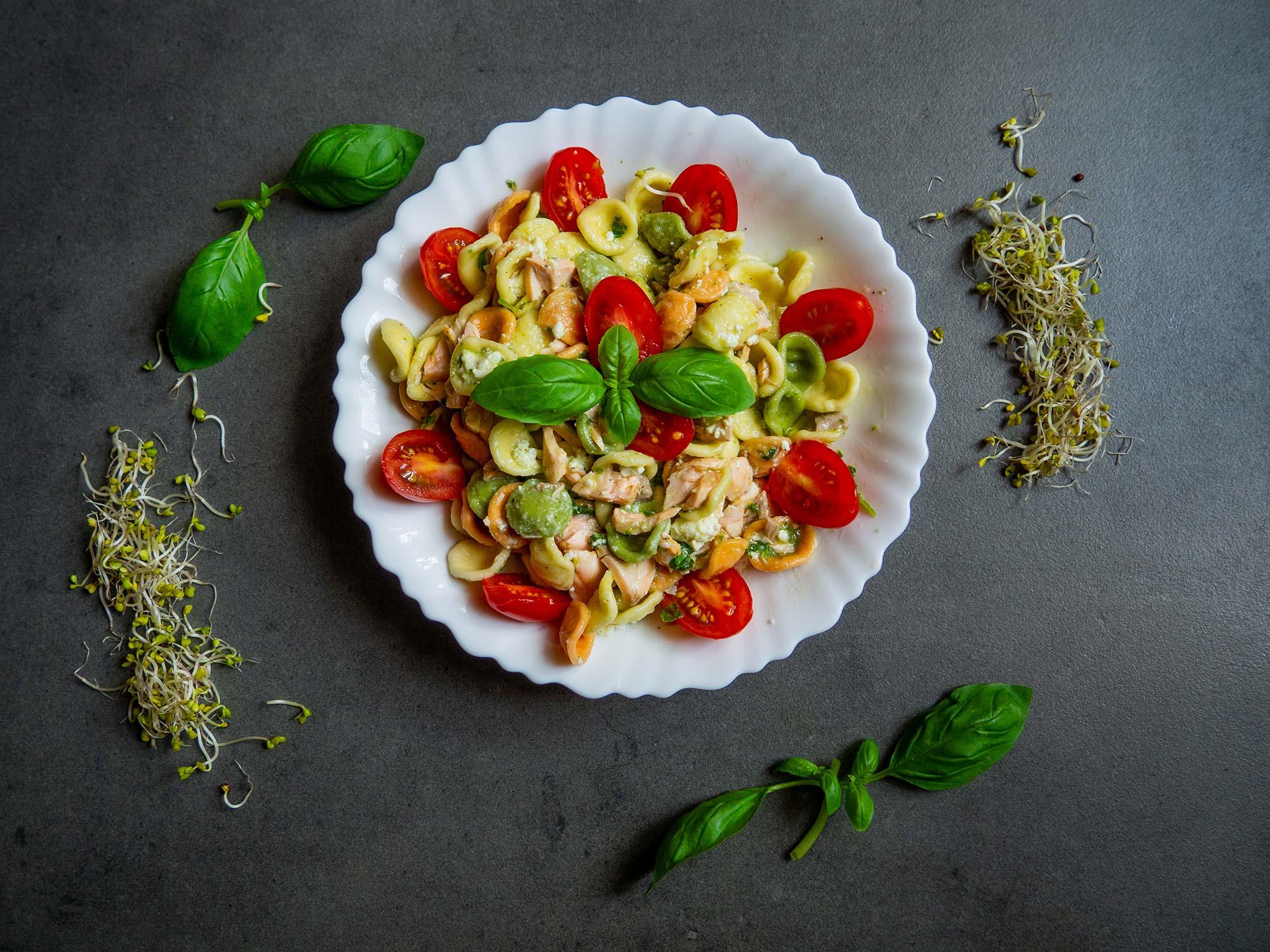 Pasta with basil pesto and salmon