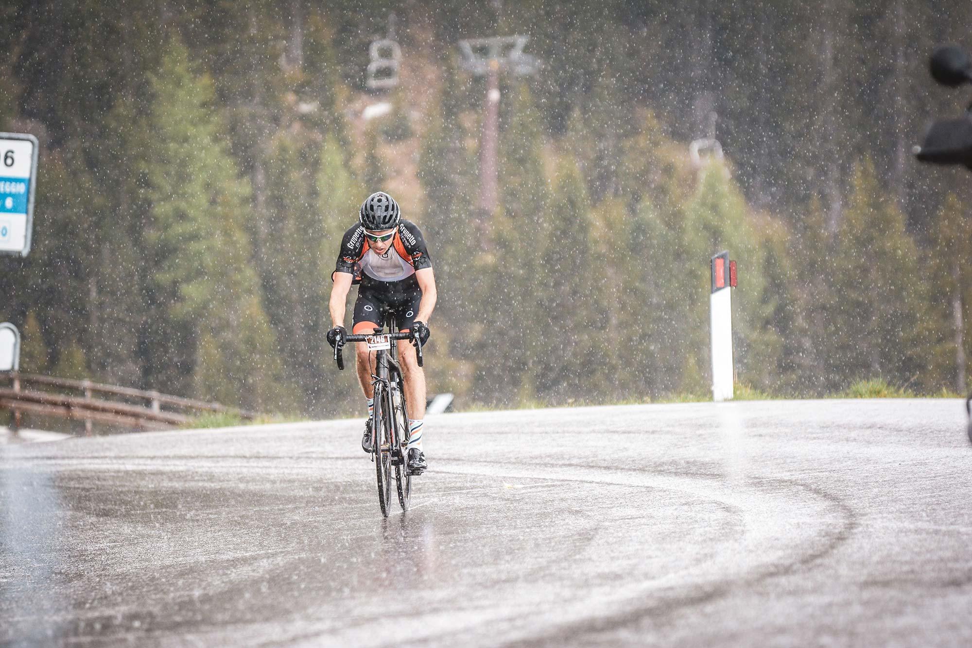 Coach Sebastian racing in the rain