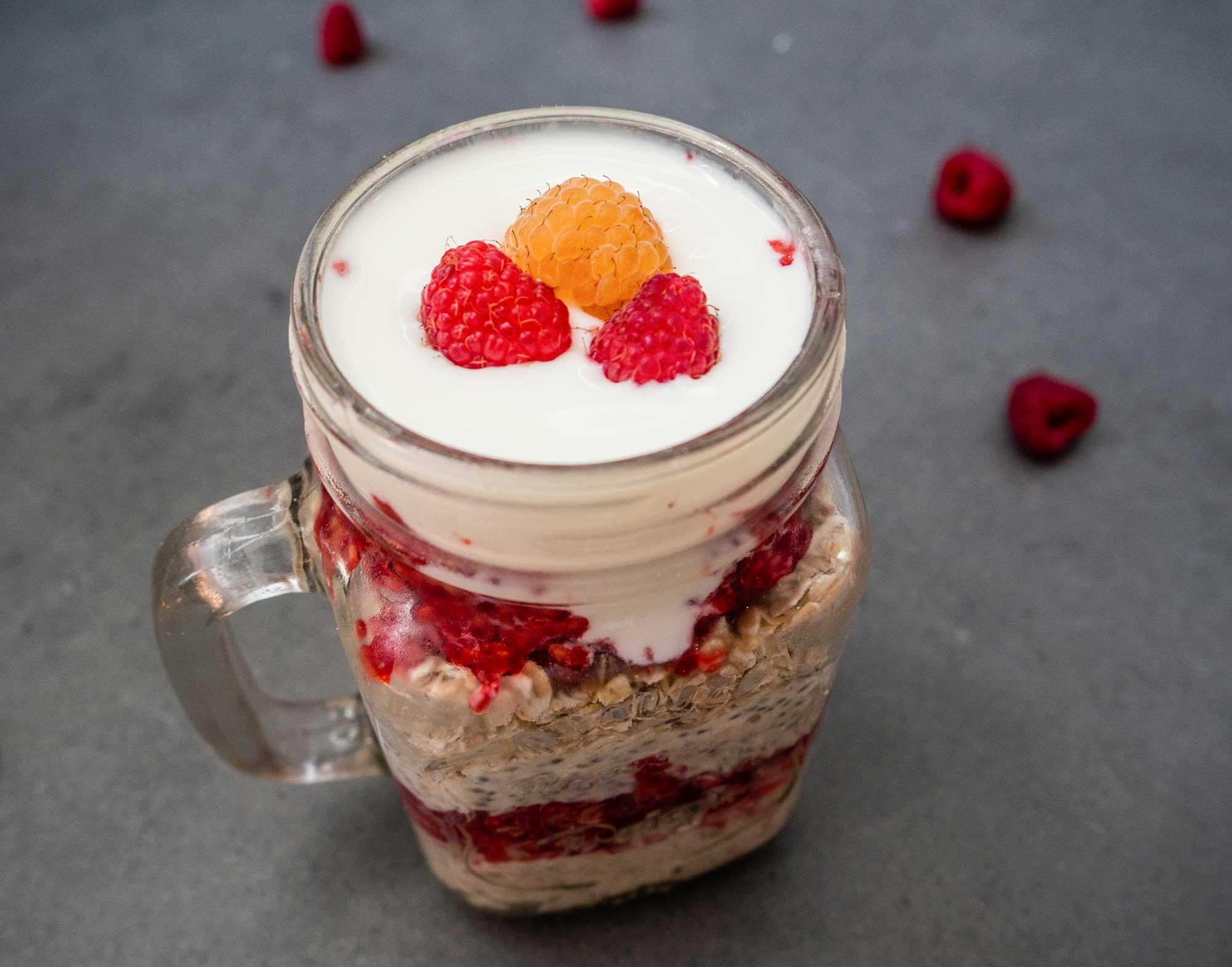 Protein Porridge with Coconut, Raspberry and Chia Seeds