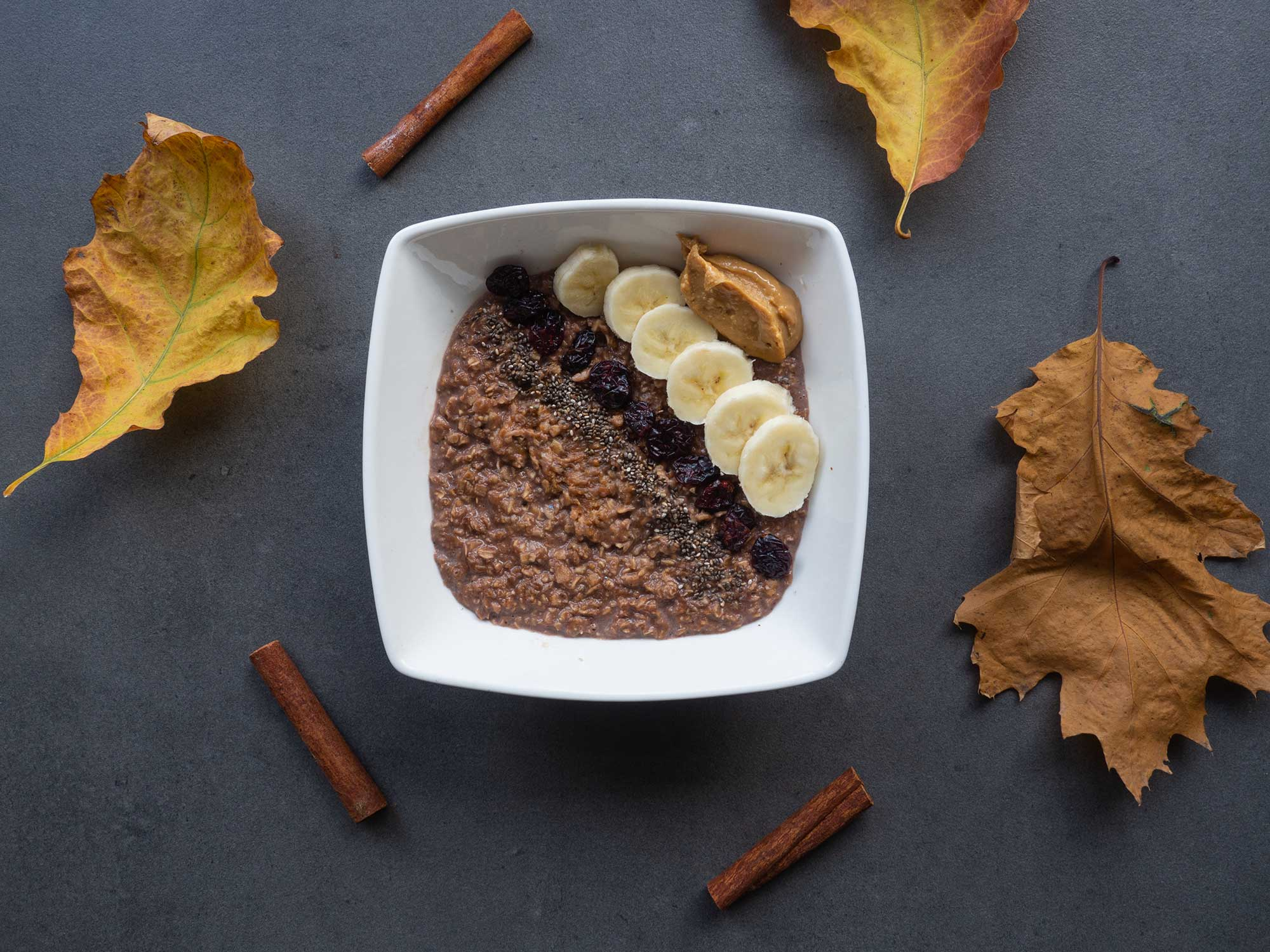 Cocoa Porridge with Chia and Peanut Butter