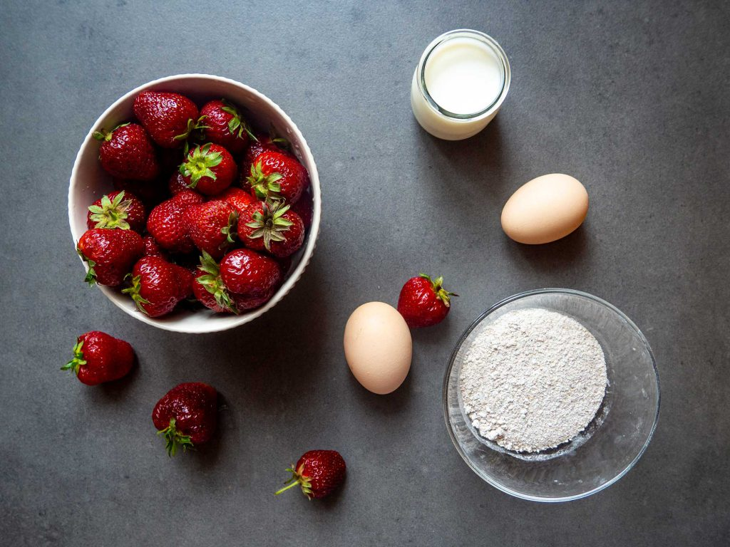 strawberries, flour, eggs, milk, carb cycling meal plan