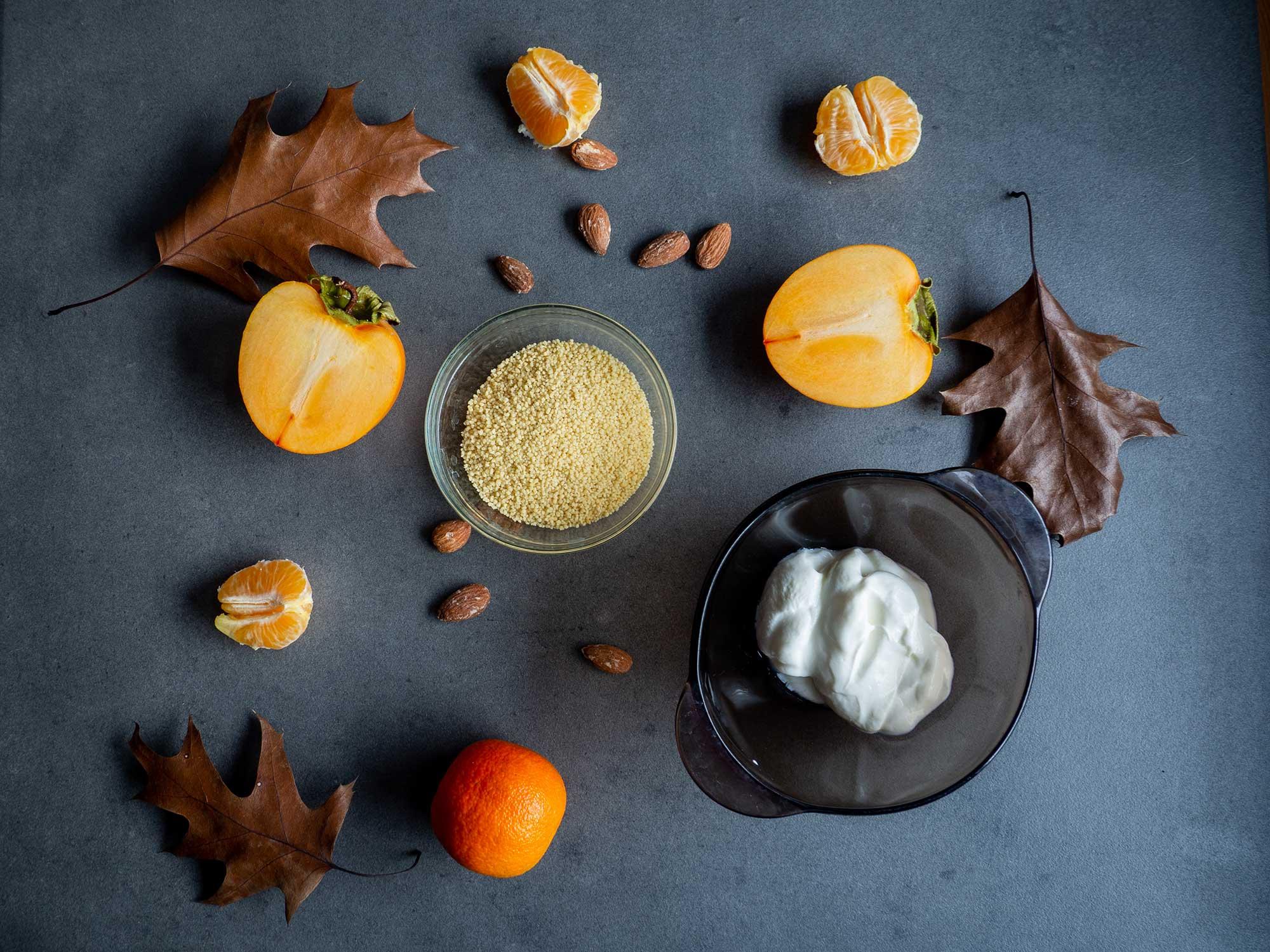 kaki, couscous, tangerine