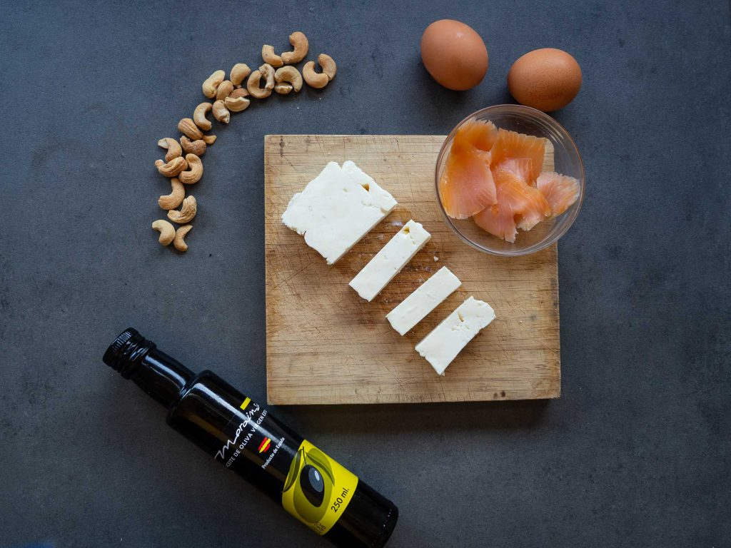 Oil, feta cheese, salmon, eggs in cycling ketogenic diet