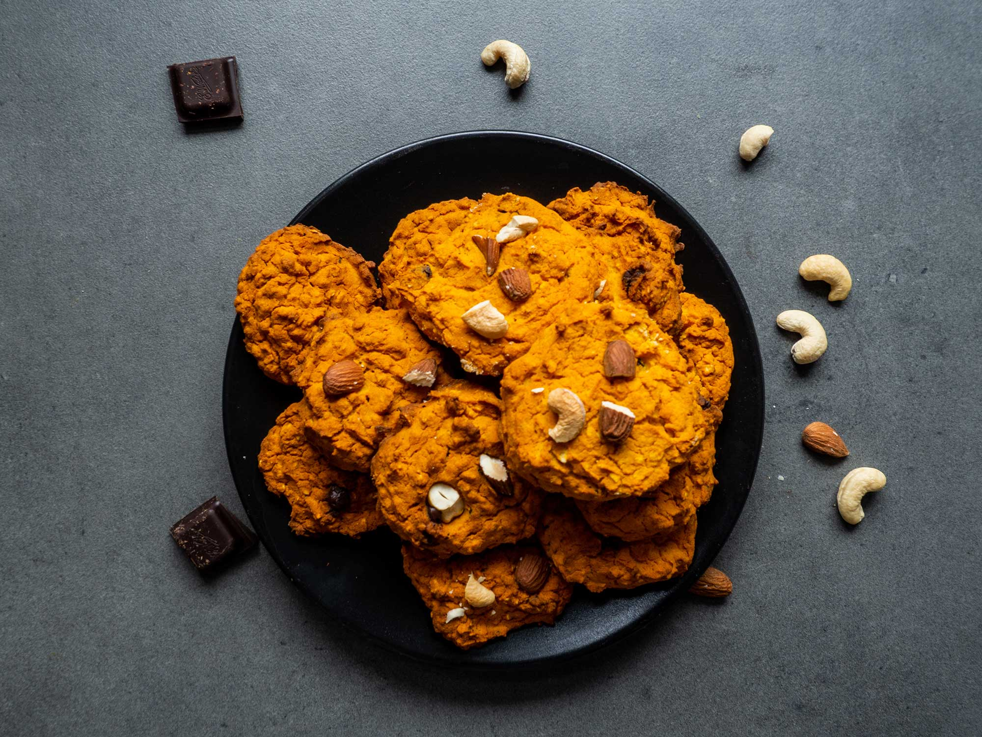 Pumpkin Cookies with Chocolate, Almonds and Cashews