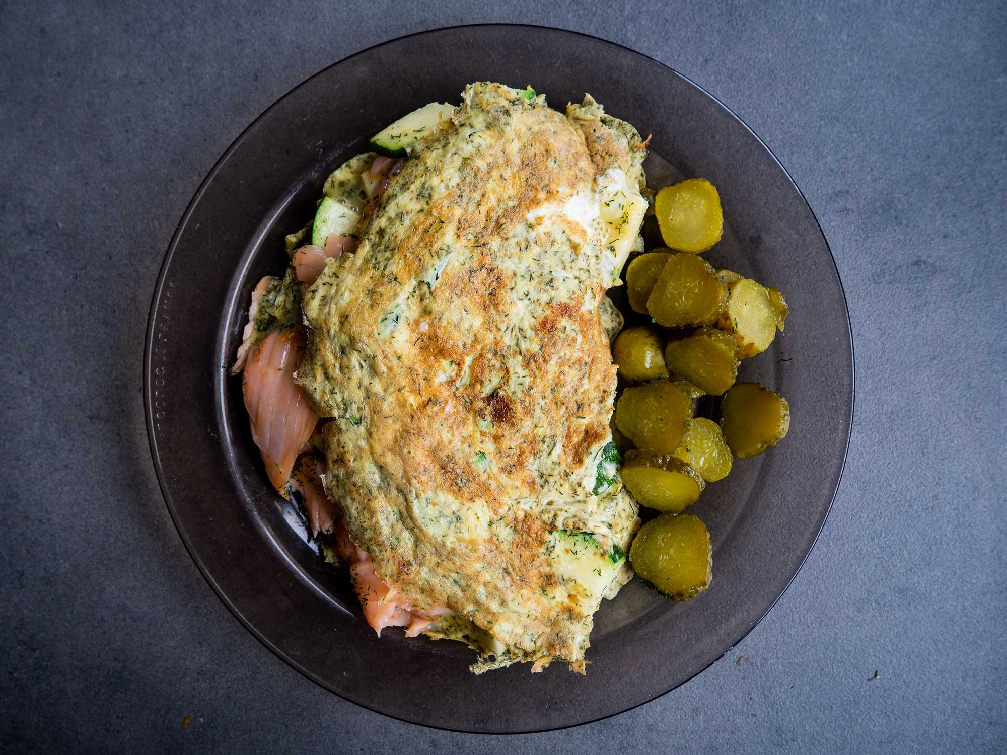 Omelette With Salmon, Zucchini and Dill
