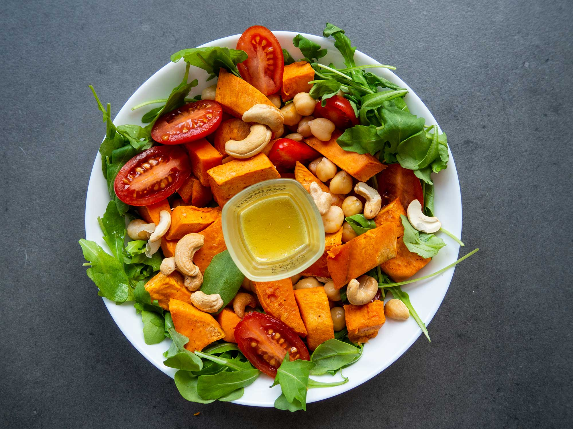 Salad with Sweet Potatoes, Chickpeas and Cashews