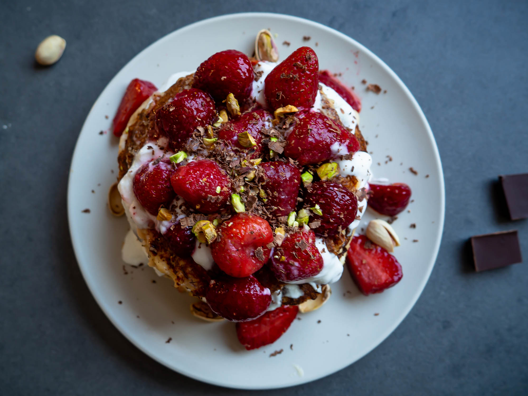 Cottage Cheese Pancakes With Strawberries and Pistachios