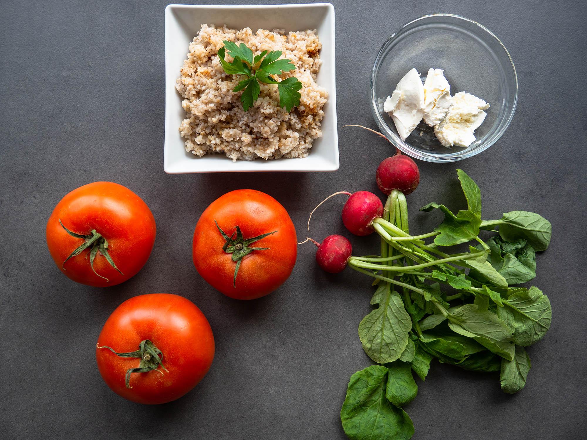 3 tomatoes, barley groats, fresh dill, radishes, Philadelphia cheese